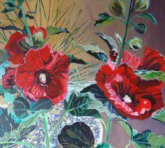 Red Hollyhocks by brushnpalette on Etsy, $225.00
