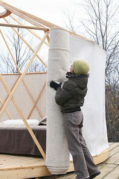I like how they are putting up the wall. YURTA, yurt made in Canada Yurt Tent, Cabin Tent, Building A Yurt, Building A House, Mongolian Yurt, Yurt Home, Yurt Living, Portable Shelter, Luxury Tents
