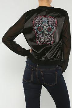 Beaded Skull Jacket #wholesale #fall #cardigan #sweater #pants #jacket #sweater #fashion #clothing #ootd #wiwt #shopitrightnow #graphics #patterns #costume #halloween