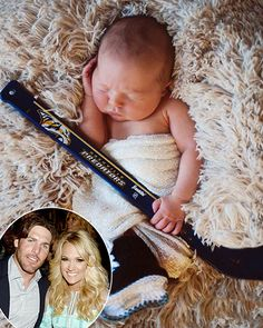 """Put me in coach! Not much is known about Carrie Underwood and Mike Fisher's newborn son Isaiah, but on Sunday, March 29, the """"Something in the Water"""" singer, 32, gave fans an adorable first look at her little boy."""