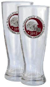Set of 2 Florida State FSU Seminoles 2013 BCS Pewter Emblem 20 oz Glass Footed Pilsner $52.00