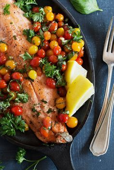 Rainbow Trout with Tomberry Cherry Tomatoes - A delicious way to enjoy rainbow trout, simply cooked with just a few simple, ingredients. Ready in just 10 minutes! Salmon Recipes, Fish Recipes, Seafood Recipes, Rainbow Trout Recipe Baked, Rainbow Trout Recipes, Pan Fried Trout, Salmon Salad, Baked Fish, Vitamins