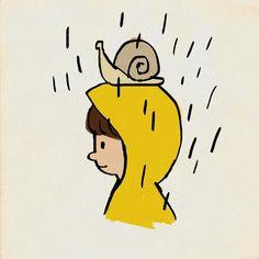 #そういえば梅雨だった #梅雨 #イラスト #カタツムリ