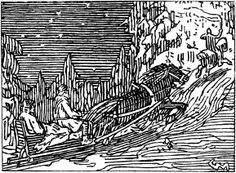 Gerhard Munthe: Illustration for Olav den helliges saga, Heimskringla 1899 «Kong Olav fer på gjesting i Gudbrandsdal.» 1896-1899 Book: Snorre Sturluson: Heimskringla, J.M. Stenersen & Co, 1899.