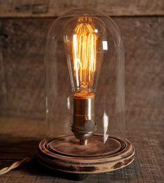 Belle Jar Table Lamp By Southern Lights Electric. Gorgeous nickel satin table light with Edison bulb.