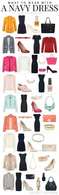 I need a navy dress! What to Wear With a Navy Dress - Lots of ideas and colour combinations to help you figure out how to wear one Navy Dress Outfits, Navy Blue Dresses, Navy Dress Shoes, Navy Gown, Blazer Outfits, Navy Pants, Pants Outfit, Mode Chic, Mode Style