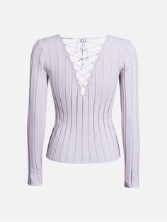 Longsleeve rib top with lacing in the back. Tight fit.  Lavendel