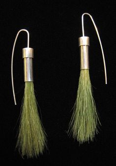 """Sarah Hood: 'Green Grass Earrings',  sterling silver and model railroad """"field grass"""". made for the 500 Earrings show at Facere"""