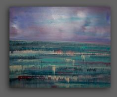 Lavender Strawberry Mist, Abstract Seascape, Land and Sea Painting .16x20x1