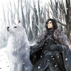 "2,244 Likes, 4 Comments - Game of Thrones (@art.of.ice.and.fire) on Instagram: ""Jon Snow and Ghost - by Dakkun39 ° ° ° #jonsnow #ghost #battleofbastards #sansastark #housestark…"""