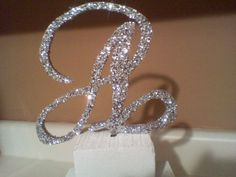 Wedding cake topper silver glitter letters and by ItsinGlitter, $20.00