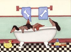 Dachshund (doxie) enjoys a bathtub / Lynch signed folk art print Weiner/Wiener Dog via Etsy