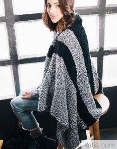 Book Beginners Easy Knits 6 Autumn / Winter | 39: Home Blanket | Black / White Fall Winter, Autumn, Knit Crochet, Kimono Top, Black And White, Knitting, Knits, Pattern, Blanket