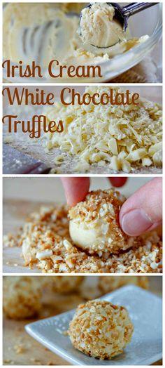 Irish Cream White Chocolate Truffles. http://www.ifood.tv/recipe/irish-cream-white-chocolate-truffles