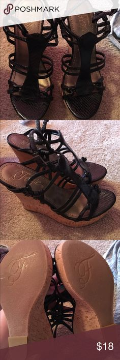 Fergalicious Wedges Never been worn. Been stored for a while, but no signs of of anything! Fergie Shoes Wedges