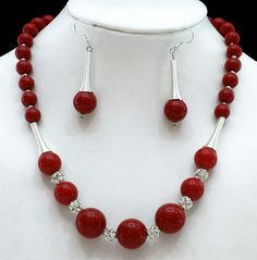 "Acrylic Jewelry Set, Necklace and Earrings, with Rhinestone and Spring Beads, Red, Necklace: about 19"" long, Earrings: about 60mm long"