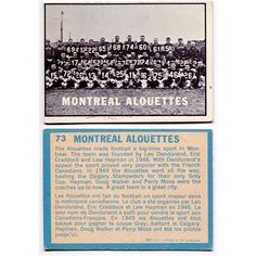 1961 Topps Montreal Alouettes Team Card #73