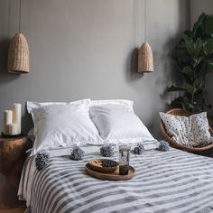 Moroccan Cotton Pom Pom Blanket Grey and White Stripes