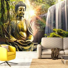 """impressively eye-catching this large wallpaper mural """" Buddhist Paradise """" transform your Room into something tranquil! This wallpaper mural will give off an ambiance in any room or workplace. Wallpaper Designs For Walls, 3d Wallpaper Mural, 3d Wall Murals, Colorful Wallpaper, Photo Wallpaper, Motif Oriental, Style Oriental, Ingrain Wallpaper, Buddha"""