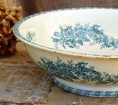 Large Ironstone Bowl Antique French Rose pattern by FrenchGypsy, $47.00