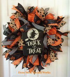 Halloween Wreath, Trick or Treat Wreath, Fall Wreath, Autumn Wreath, Paper Mesh Wreath, Burlap Wreath, Deco Mesh Wreath, Halloween Decor by DecoMeshWreathWorks on Etsy