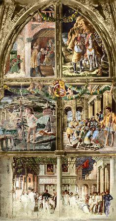 Ansuino da Forlì, Bono da Ferrara, Andrea Mantegna - Storie di san Cristoforo - affresco - cappella Ovetari, chiesa degli Eremitani a Padova.