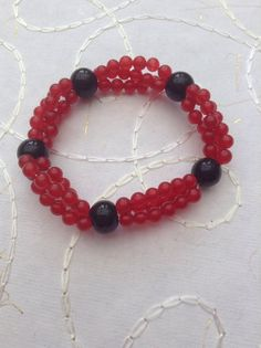 Genuine red ruby and black glass beaded handmade elasticated
