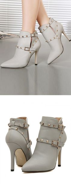 Beige Strappy Stud Embellished Buckle Heeled Ankle Boots