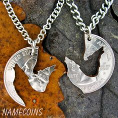 Wolf Necklace Howling Wolves Jewelry, Interlocking Puzzle Set, Made From A Hand…