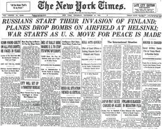 New York Times coverage of the bombing of Helsinki and the beginning of the Winter War