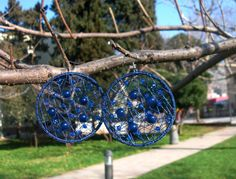 Crochet Blue Earrings / Dreamcatcher Earrings/ Elegant by Nimmet