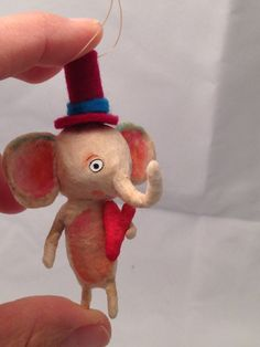 Spun Cotton Elephant Valentine ornament by Maria by spuncotton