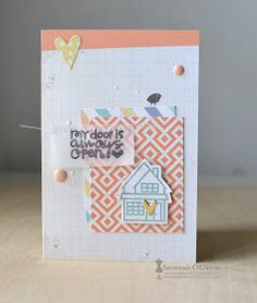Card by SPARKS DT Savannah O'Gwynn PS stamp set: Bitty Bungalow; PS dies: Hearts, Bungalows