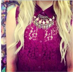 fuchsia purple lace button up sleevless top, fringy, gemstone costume necklaces, blonde curls, spring colors and fashion, summer wear