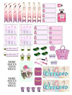 """sticker kit"" Hayden Willams Vogue princesses Functional sheet  (the happy planner by MAMBI) sticker. Free printable sticker layout may be subject to copyright not intended for retail; personal use only"