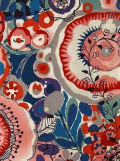 Alexander Henry Cotton Lawn Fabric Dark Cream Larkspur in Bloom Floral Textiles, Textile Prints, Textile Patterns, Textile Design, Textile Art, Fabric Design, Print Patterns, Fabric Decor, Fabric Art