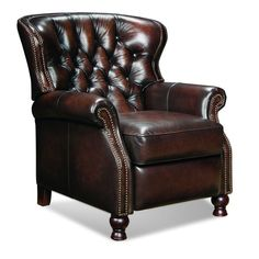 Barcalounger Presidential II Leather Recliner // Button tufted details, elegant styling // Need this in my living room and my office My Living Room, Living Room Chairs, Living Room Furniture, Home Furniture, Dining Chairs, Furniture Styles, Lounge Chairs, Barcalounger, Leather Recliner Chair