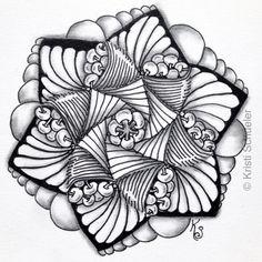 Zentangle Tile 2015-057 - zendala with isochor, poke root, paradox, kozy and pearls