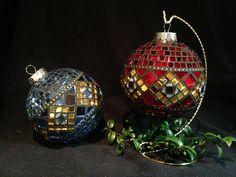 Christmas Mosaics, Christmas Tree Ornaments, Christmas Ideas, Winter Holidays, Balls, Mixed Media, Easter, Patterns, Sewing