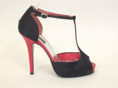SONIA RYKIEL BLACK SATIN & RED PATENT LEATHER OPEN TOE PLATFORM PUMPS SZ.36.5 #SONIARYKIEL #Stilettos