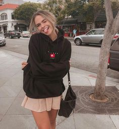 an oversized black hoodie, a blush pleated mini skirt and a black bag for every . - an oversized black hoodie, a blush pleated mini skirt and a black bag for every … Source by - Black Hoodie Outfit, Oversized Hoodie Outfit, Black Mini Skirt Outfit, Cute Casual Outfits, Fashion Outfits, Winter Outfits, Summer School Outfits, Outfit Summer, Photography Poses