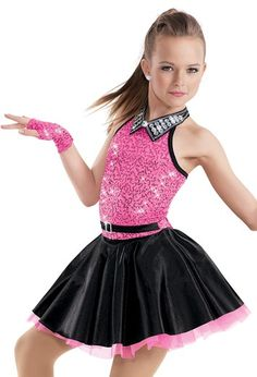 "Hot Pink Sequined Bodice and Black Skirt with Rhinestone Collar and Sequined Gloves - ""Vogue"""