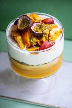 Try our Mango, Passionfruit & Yellow Peach Trifle recipe! Buy the ingredients online from Harris Farm. Mango Trifle Recipes, Fruit Trifle Desserts, Delicious Desserts, Peach Trifle, Mango Jelly, Christmas Dishes, Christmas Treats, Fig Cake, Salmon