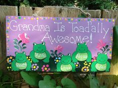 Personalized frog grandchildren plaque by LazyHoundWorkshop, $15.00