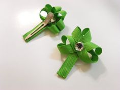 Pair of bright green shamrock hair clips for St. Patty's Day by GettinAllGussiedUp, $5.00