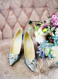 Powder blue and shimmery bridal shoes with bows | see more on: http://burnettsboards.com/2014/04/twist-jewel-tones/