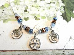 Silver Flower Pendant Necklace Paprika and Shimmering Blue accents by sewstacy, $23.00