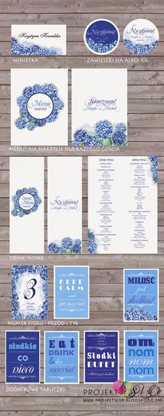 projekt ŚLUB - zaproszenia ślubne, oryginalne, nietypowe dekoracje i dodatki na wesele: granat