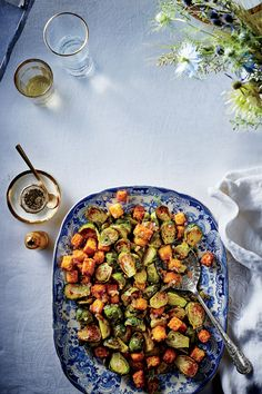 Brussels Sprouts with Cornbread Croutons   | MyRecipes