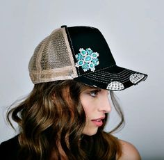 Turquoise Brooch Crystallized Trucker Hat